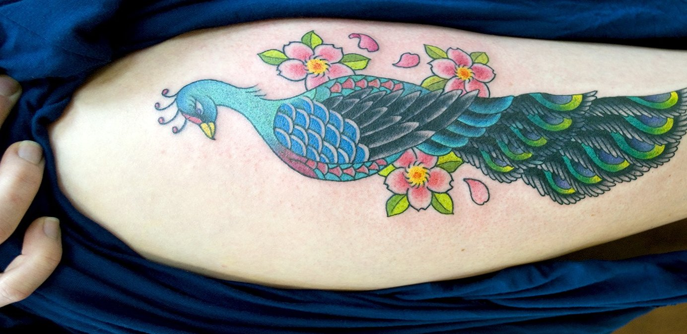 Pfau Tattoo Motive und Pfauenfeder Tattoo Bedeutung alletattoo.de 14