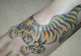 Tiger Tattoo am Fuss