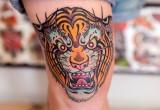 Tiger Tattoo fuer unterschenkel